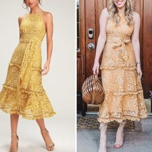 Keepsake Imagine Golden Yellow Lace Midi Dress